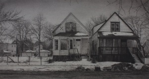 What was Once a Home (South Carpenter Street), 13 x 24, Carbon pencil on tinted paper